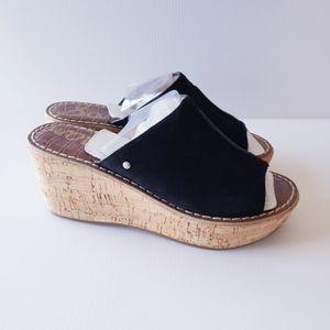 New Sam Edelman Black suede wedge slides sandals